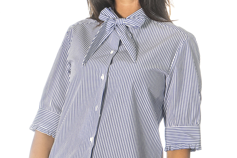 Sophie shirt with ribbon collar detail